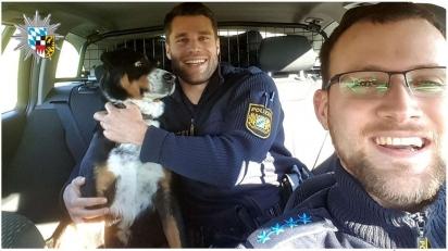 Policiais que atenderam o chamado dos ciclistas para resgatar o cachorrinho. (Foto: Facebook/Polizei Mittelfranken)
