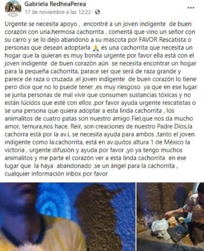 Post que Gabriela publicou no Facebook. (Foto: Facebook/Gabriela RedheaPerea)