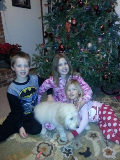 A cachorra Sandy com as crianças da família. (Foto: Arquivo Pessoal/Karen Manthey)