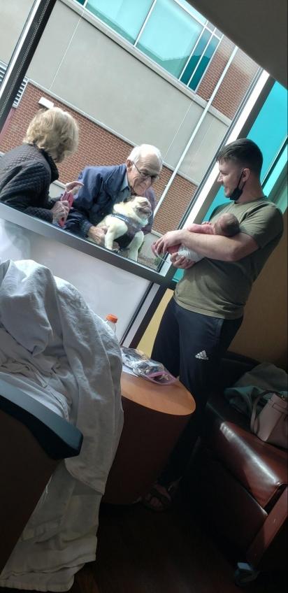 Os avós levam o cachorro Oz junto e a carinha que ele faz ao conhecer o bebê é linda. (Foto: Twitter/@briannalhaynes)