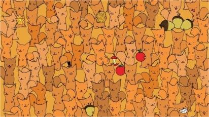 Ilustração de artista húngaro desafia internautas a encontrarem o ratinho oculto em grupo de esquilos. (Foto: Dudolf/Gergely Dudás)