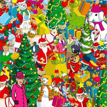 Desafio: o corgi da rainha se esconde em meio a uma cena de Natal com Buddy, o Elfo, Papai Noel e sacos de presentes. (Foto: Yappy)