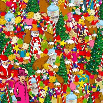 Desafio: o corgi está escondido num cenário recheado de comida, enfeites e brinquedos natalinos. (Foto: Yappy)