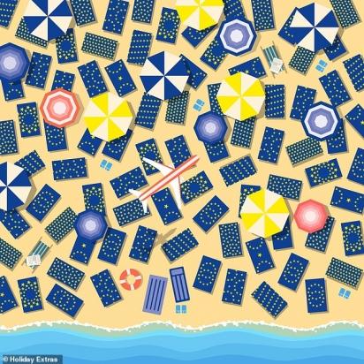 Desafio: encontra a bandeira da União Europeia em meio as toalhas de praia. (Foto: Holiday Extras)