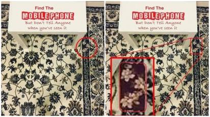 Resposta do desafio 7. A estampa da capa do celular é parecido com o tapete. (Foto: Jeya May Cruz)