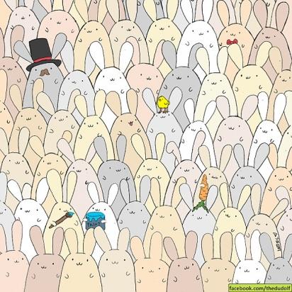 Desafio: encontrar o ovo no meio dos coelhos. (Foto: The Dudolf)