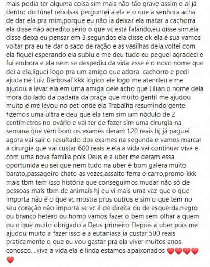 Post que Emerson compartilhou no grupo do Facebook. (Foto: Facebook/Proteção Animal RJ)