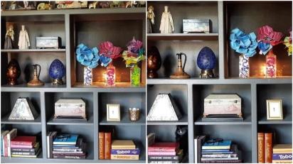 Temos aqui, uma estante, muitos objetos e um cão. Você só precisa encontrá-lo. (Foto: Facebook/Katherine Cone)