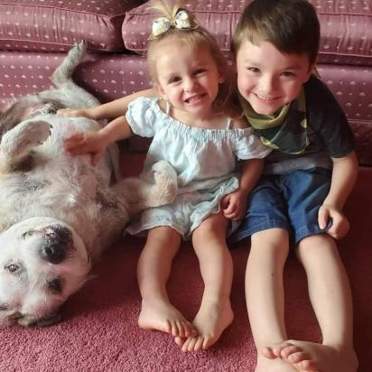 Kathleen e seus filhos são voluntários de um abrigo de animais. (Foto: Facebook/Kathleen Marie via Dogspotting Society)