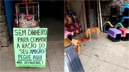 Pet shop de Minas Gerais doa ração para quem não pode pagar pelo insumo. (Foto: Facebook/Rafael Bruna)