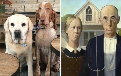 Da arte para a vida ou da vida para a arte? Uma mulher que vive no Reino Unido disse que seus dois cães eram parecidos com a pintura gótica americana de 1930 de Grant Wood. (Foto: Facebook/Kate Shopper)