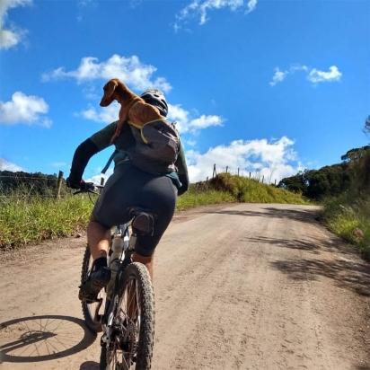 Não importando o percurso os ciclistas colocaram o cachorrinho dentro da mochila. (Foto: Instagram/pelanka_dachsund)