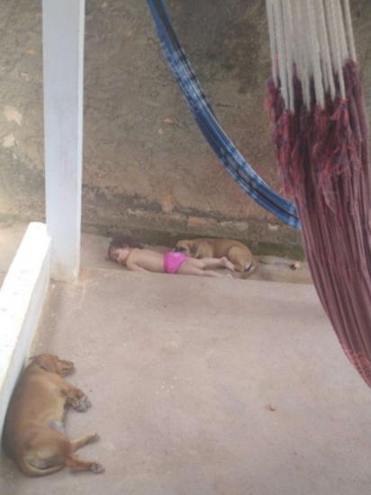 Annabell foi flagrada pela mãe dormindo com os cachorros da família: Zaya, Neném e Tataia. (Foto: Arquivo Pessoal/Lawria Melo)