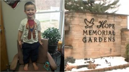 Menino de três anos é encontrado abandonado em cemitério na companhia do seu cachorro em véspera de Natal. (Foto: Facebook/Hinckley Police Department Ohio | Reprodução/Fox News)