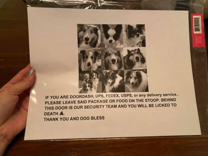 Dona cria cartaz para entregadores afirmando para terem cuidado com os seus cães super carinhosos. (Foto: Facebook/Marissa Alexis Xicotencatl via Dogspotting Society)