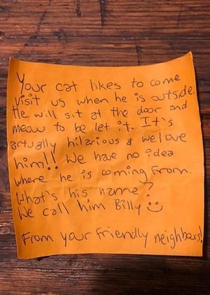 Bilhete que o gatinho Billy trouxe para casa. (Foto: Arquivo Pessoal/Zack King)