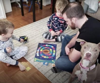 A pit bull com a sua família.(Foto: Reprodução/The Dodo)