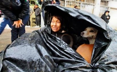 A mulher de 60 anos, Soledad Castro Olmedo, junto com seus 6 cachorros na barraca improvisada.