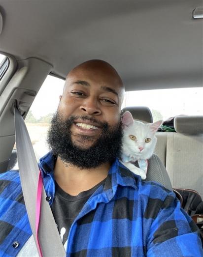 Alanis Mewsette pulou em seu ombro enquanto capturava gatinhos, ele gostou tanto dela que decidiu adotá-la