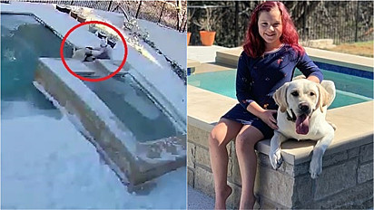 Ao perceber que seu cão estava se afogando na piscina na cidade de Leander, no Texas (EUA), a menina corre para socorrê-lo.
