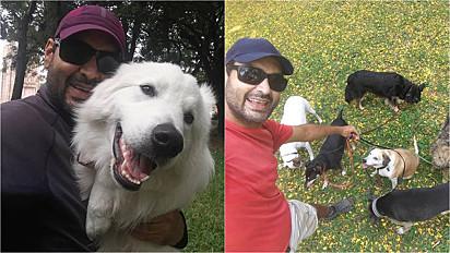 Tarlison Suello que vive Porto Alegre deixou cargo em multinacional para ser dog walker.
