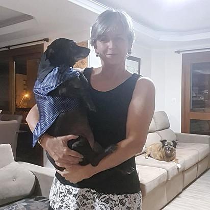 Rejane Rech com o seu amado cão Joaquim.