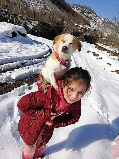A menina Cemre Su Türköz com seu cachorrinho Pamuk nas costas. Eles são da Turquia.