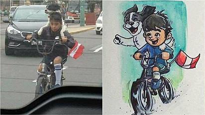 Criança com a sua cadelinha comove os internautas e sensibiliza ilustrador.