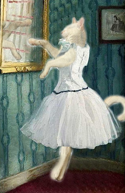 O pós-neomodernismo romântico contemporâneo é caracterizado por montagens de gatinhos como pinturas.