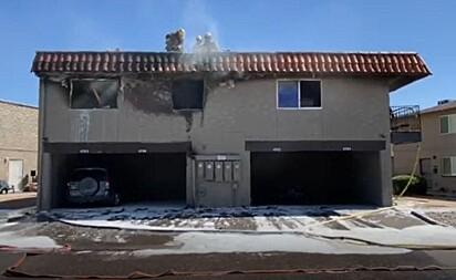 O complexo do apartamento depois do fogo.