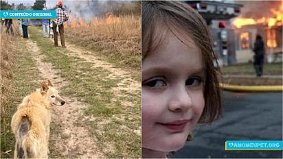 """Foto de publicação em grupo de Facebook, viraliza com a semelhança do meme da garotinha sorrindo depois de ter """"incendiado uma casa""""."""