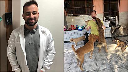 Médico troca pagamento por consulta por ração para ajudar abrigo de animais.