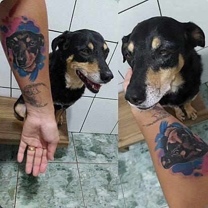 Keila Prado tatuou a sua cachorrinha de 11 anos.