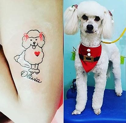Léia Santos tatuou a sua cachorrinha Olívia.