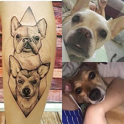 Jennipher Ferreira tatuou suas cadelinhas Amanda e Luane caramelo