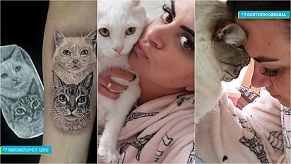 Estudante de medicina veterinária, Denise Chiquetti, de São José, Santa Catarina, homenageia seus gatos em tatuagem.