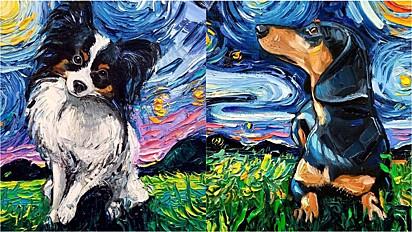 """A artista plástica e pintora francesa Aja Trier cria uma galeria de pinturas de cães com fundo inspirado na obra """"A Noite Estrelada"""" de Van Gogh."""