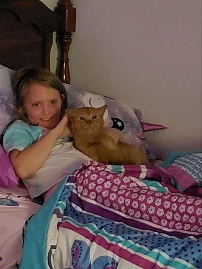 Lynn Farrell foi surpreendida pela filha que estava escondendo um gatinho em seu quarto.
