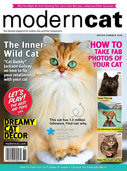 A gatinha na capa da revista de 2018.