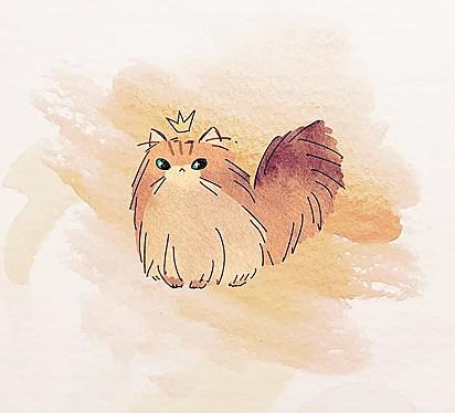 Desenho feito em homenagem à felina.