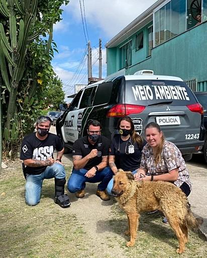 O cachorro foi resgatado pelo delegado Matheus Laiola, o investigador Cassio Silva e a ONG Força Animal.