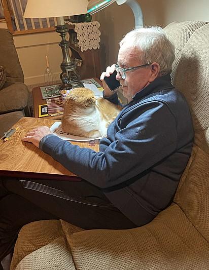 O gatinho Tato com o pai da sua dona.