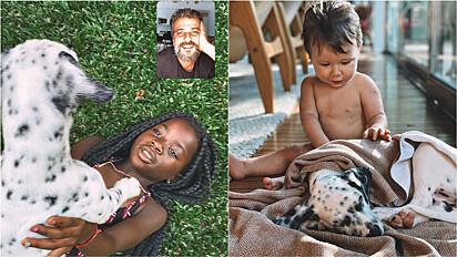 Bruno presenteia família com cachorrinho.