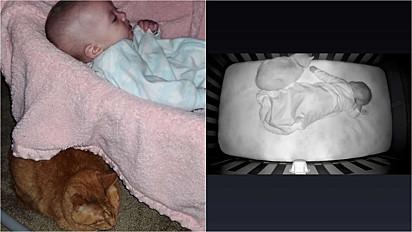 Felino que rejeitava a filha da sua dona é flagrado pela babá eletrônica dormindo no berço ao lado da bebê.