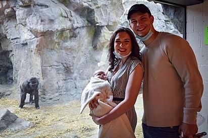 O casal no zoológico Franklin Park Zoo em Boston, Estados Unidos.