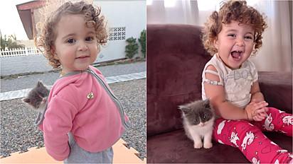 Criança encanta internautas pela amizade fofa com o seu gatinho.