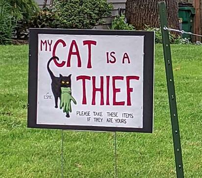 A placa que o dono de Esme fixou no jardim.