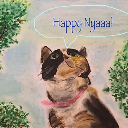 A gatinha foi retratada pelas crianças em lindas pinturas.