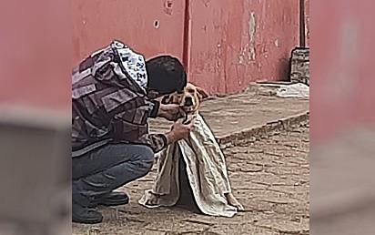 Ana Maria de Carvalho Leite, registrou o momento em que um rapaz agasalha um cachorro de rua com frio.