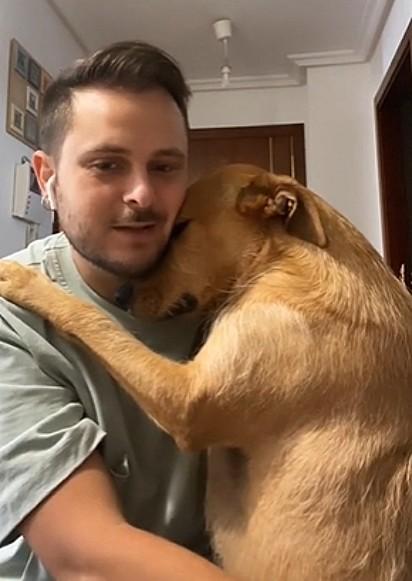 Na tentativa de impedir o dono de sair, cachorra o abraça.